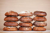 Piles of round breads — Stock Photo