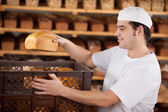 Chef putting bread in box — Stockfoto