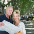 Couple on vacation looking at map — Stock Photo #50971347