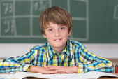 Smiling young schoolboy in classroom — Stock Photo