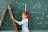 Girl genius in maths class — Zdjęcie stockowe