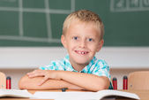 Little schoolboy with happy grin — Stock Photo