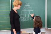 Little girl in mathematics class — Stock Photo
