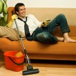 Happy mwith mop — Stock Photo #26932787
