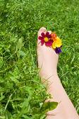 Kobieta stóp na trawie — Zdjęcie stockowe