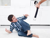 Man punishing his son — Stock Photo