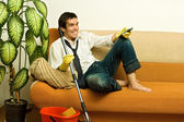Happy man with mop — Stock Photo