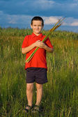 Chlapec hospodářství rákosí — Stock fotografie