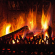 Flames in fireplace — Stock Photo