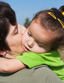 Little girl on her mother's shoulder — Stock Photo