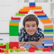 Little boy playing with blocks — Stock Photo