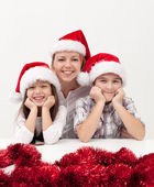 γυναίκα με παιδιά χριστούγεννα — Φωτογραφία Αρχείου