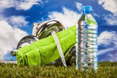 Colorful fitness composition, fitness stuff — Stock Photo