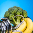 Health and fitness composition, fruits and vegetables — Stock Photo