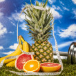 Fitness composition with vivid colors — Stok Fotoğraf #26770743