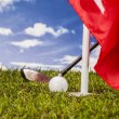 Golf stuff on golf field — Stock Photo