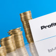 Financial and bussines with business stuff and gold coins — Stock Photo