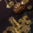 Business theme, gold coins with light background — Foto de Stock