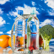 Healthy food, fitness concept on blue sky background — Stock Photo #27410095