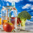 Ftness theme with fruts, vegetables, bright blue background — Stok fotoğraf