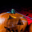 Dark autumn composition with scary pumpkins — Stockfoto