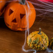 Dark autumn composition with scary pumpkins — Stock Photo