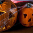 Dark autumn composition with scary pumpkins — Foto de Stock