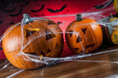 Miedo calabazas de halloween, halloween tema — Foto de Stock