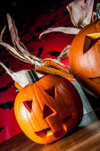 Calabazas miedas, concepto de halloween — Foto de Stock