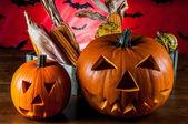 Skrämmande pumpor, halloween koncept — Stockfoto