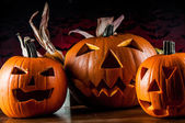 Scary halloween theme with pumpkin — Stock Photo