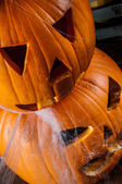 Dark concept of halloween with pumpkins — Stock Photo