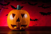 Halloween pumpkin in atmospheric light — Stock Photo