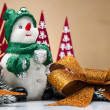 Color Christmas theme with toys and decorations — Stock Photo