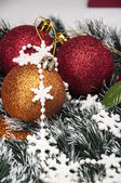 Bright Christmas decorations with Christmas stuff — Stock Photo