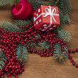 Winter decorations with Christmas stuff — Stock Photo
