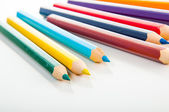Variety of wooden color pencils, isolated — Stock Photo