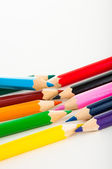Wooden color pencils on white background — Stock Photo