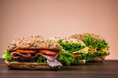 Organic, healthy food with sandwich — Stock Photo