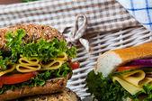 Organic, healthy food with sandwich — Foto de Stock