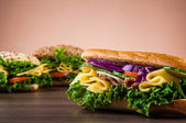 Tasty natural lunch with sandwich — Stock Photo