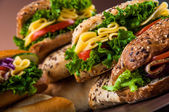 Colorful theme of sandwich, healthy food — Photo