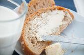 Soft breakfast theme with milk, egg — Stock Photo