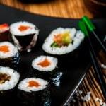 Tasty, fresh and healthy sushi set — Stock Photo #40394575