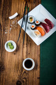 Healthy and tasty Japanese sushi with seafood — Stock Photo