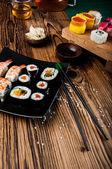 Tasty, fresh and healthy sushi set — Stock Photo