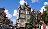 Amazing old streets of Amsterdam, European architecture — Stock Photo