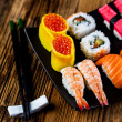 Decorative seafood concept with Japanese sushi — Stock Photo #41597689