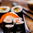 Decorative composition with sushi, Japanese seafood — Stock Photo