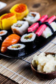 Fresh, healthy and tasty oriental sushi with seafood — Stock Photo